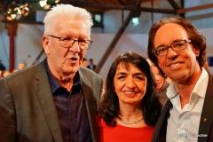 Auch nach der Sendung noch guter Stimmung:  Ministerpräsident Winfried Kretschmann | Landtagspräsidentin Mutherem Aras | Christoph Sonntag