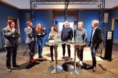 Smudo und And.Ypsilon von den Fantastischen Vier mit  Dr. Torben Giese, Museumsdirektor, Harmke Heezen, VR-Spezialistin bei High Road Stories, Oliver Ihrens, Produzent und Geschäftsführer bei Radar Media GmbH sowie Co-Produzent Georg Tschurtschenthaler von Gebrüder Beetz Filmproduktion stellen das Projekt vor.