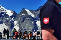 Wieder auf der Terrasse der Bergstation Diavolezza