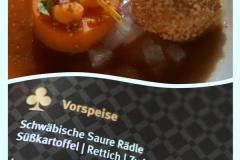"""Gang des """"Klassischen Menü"""" Radio Ton Gourmetpalast 2018: Schwäbische Saure Rädle,"""