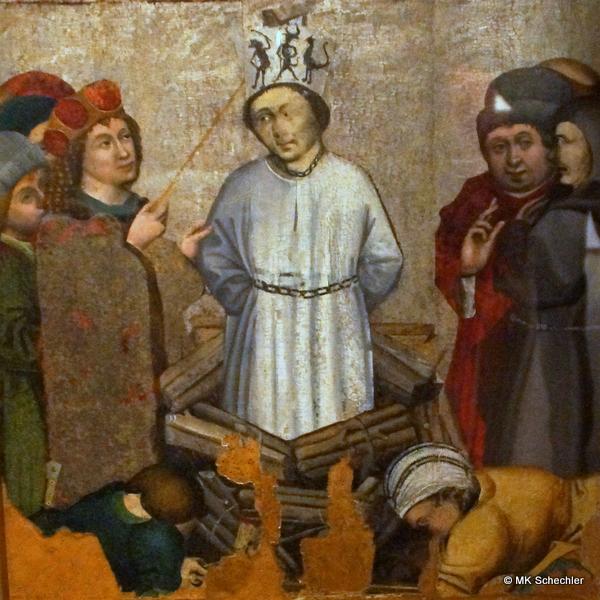 Verbrennung des Jan Hus. Ausschnitt eines Altarflügels aus dem Hussitenmuseum Tabor